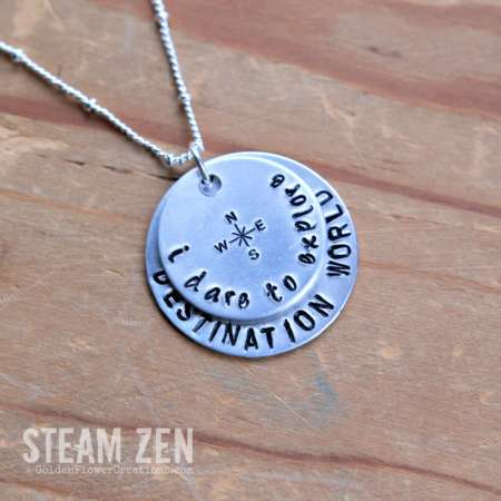 Personalized Hand-stamped Traveler Necklace