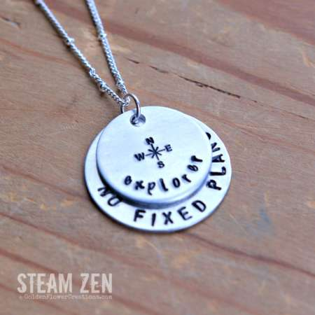 No Fixed Plans Personalized Hand-stamped Traveler Necklace