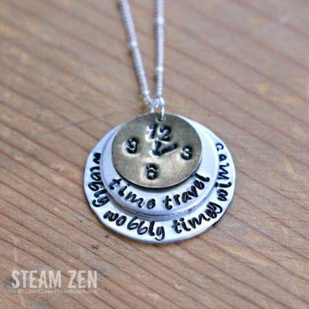 Wibbly Wobbly Timey Wimey Hand Stamped Necklace