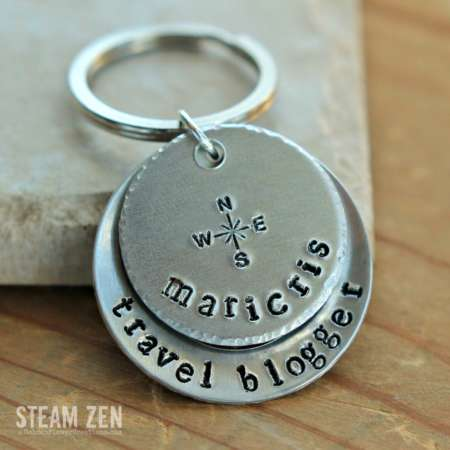 Travel Blogger Personalized ID Tag Key Chain