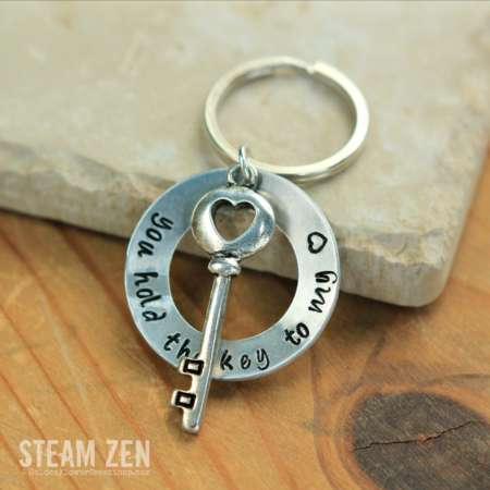 You Hold the Key To My Heart Hand Stamped Key Chain