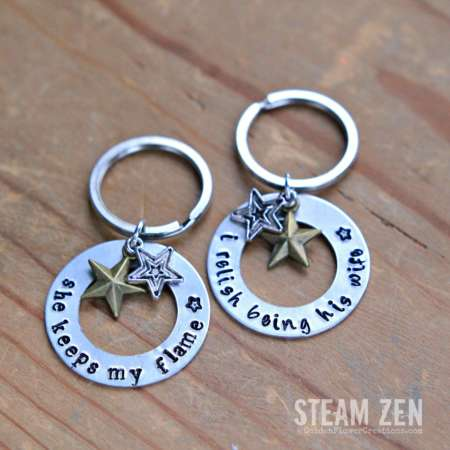 Husband and Wife Hamilton Love Quotes Hand stamped Key Chains