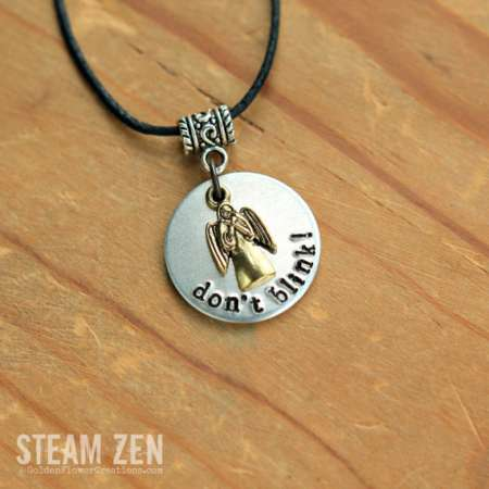 Doctor Who Don't Blink Metal Hand Stamped Necklace – Weeping Angels