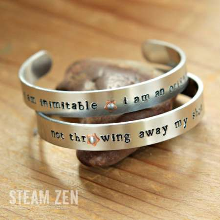 Hamilton Hand Stamped Mixed Metal Cuff Bracelet – Two Options